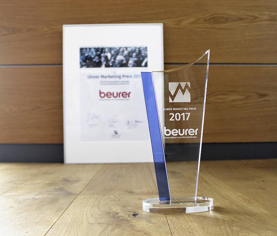 Die Jury des Ulmer Marketing Preis zeichnet Beurer mit dem Hautpreis 2017 aus.