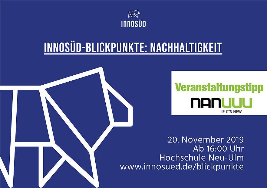 InnoSÜD-Blickpunkte: Nachhaltigkeit - 20. November 2019 an der Hochschule Neu-Ulm